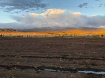 First irrigation with sunset alpenglow on the 80,000 acre common lands, La Sierra.